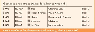 Prices for single stamps before 15% discount