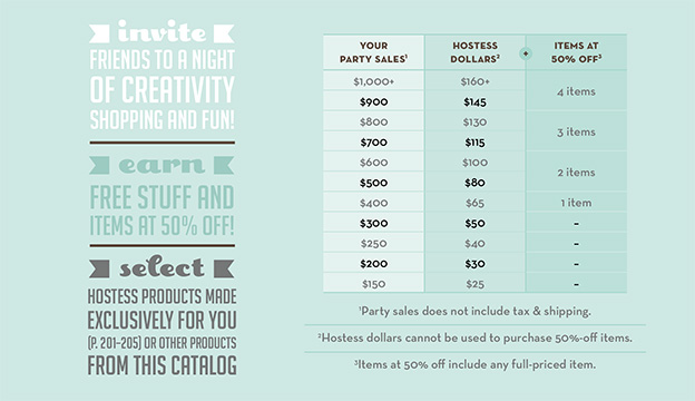 Hostess Benefits for Single Orders of $150 or more!