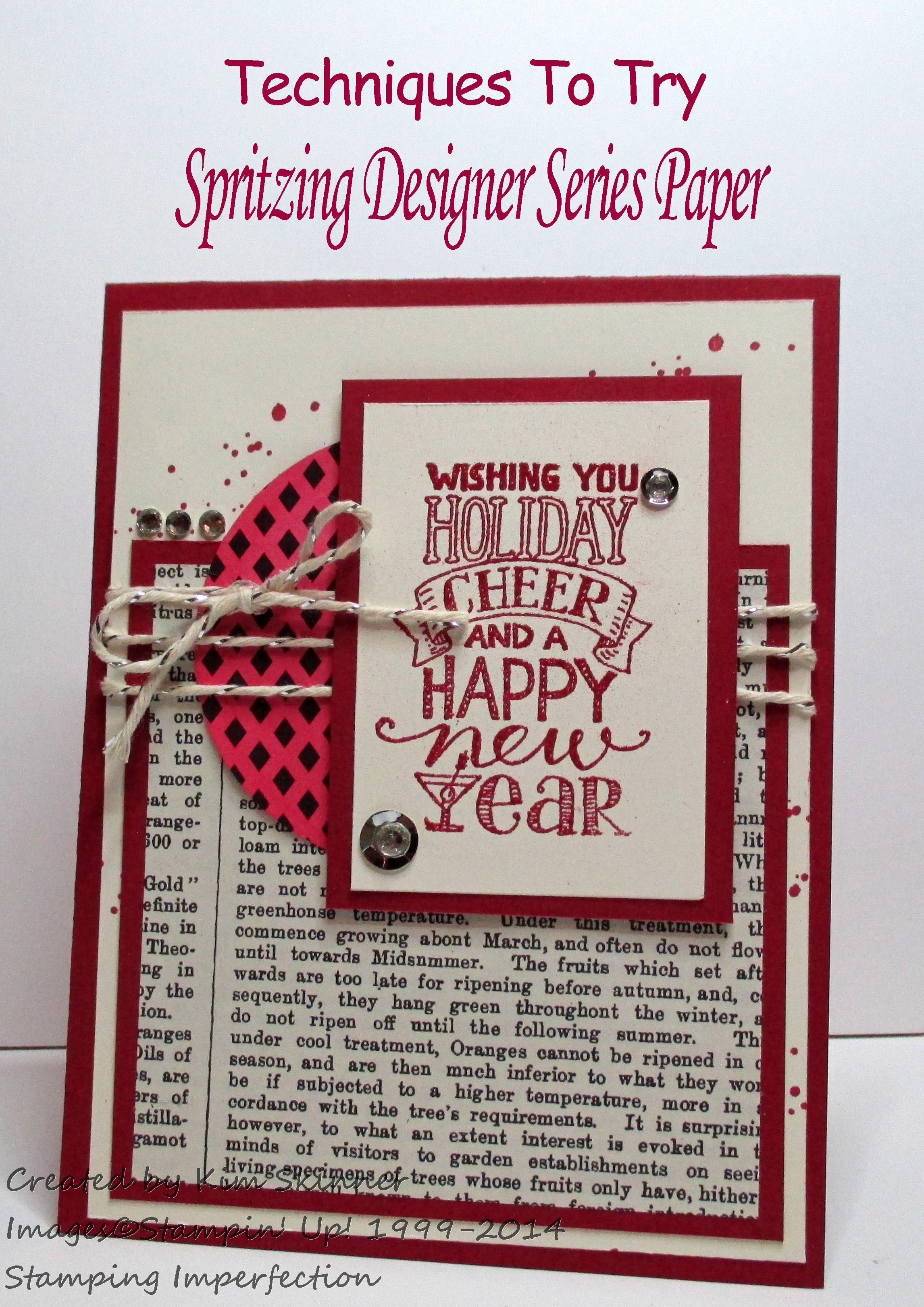 Stamping Imperfection spritzing designer series paper