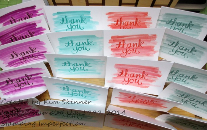 Create a quick set of 20 Thank You Notes Stamping Imperfection