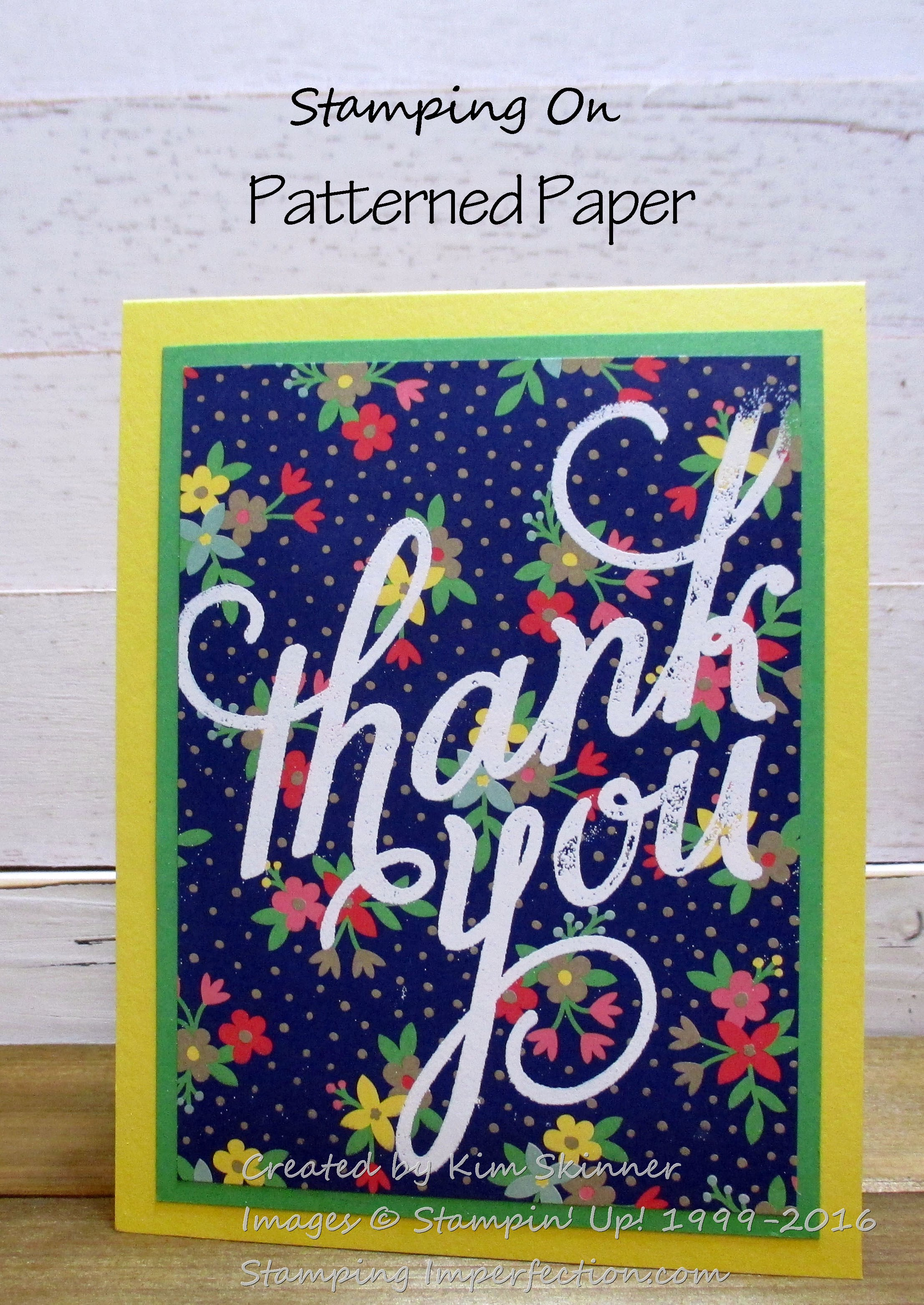 stamping on bold patterned paper