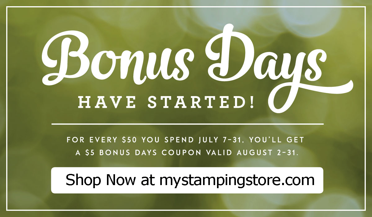 Shop bonus days at mystampgingstore.com