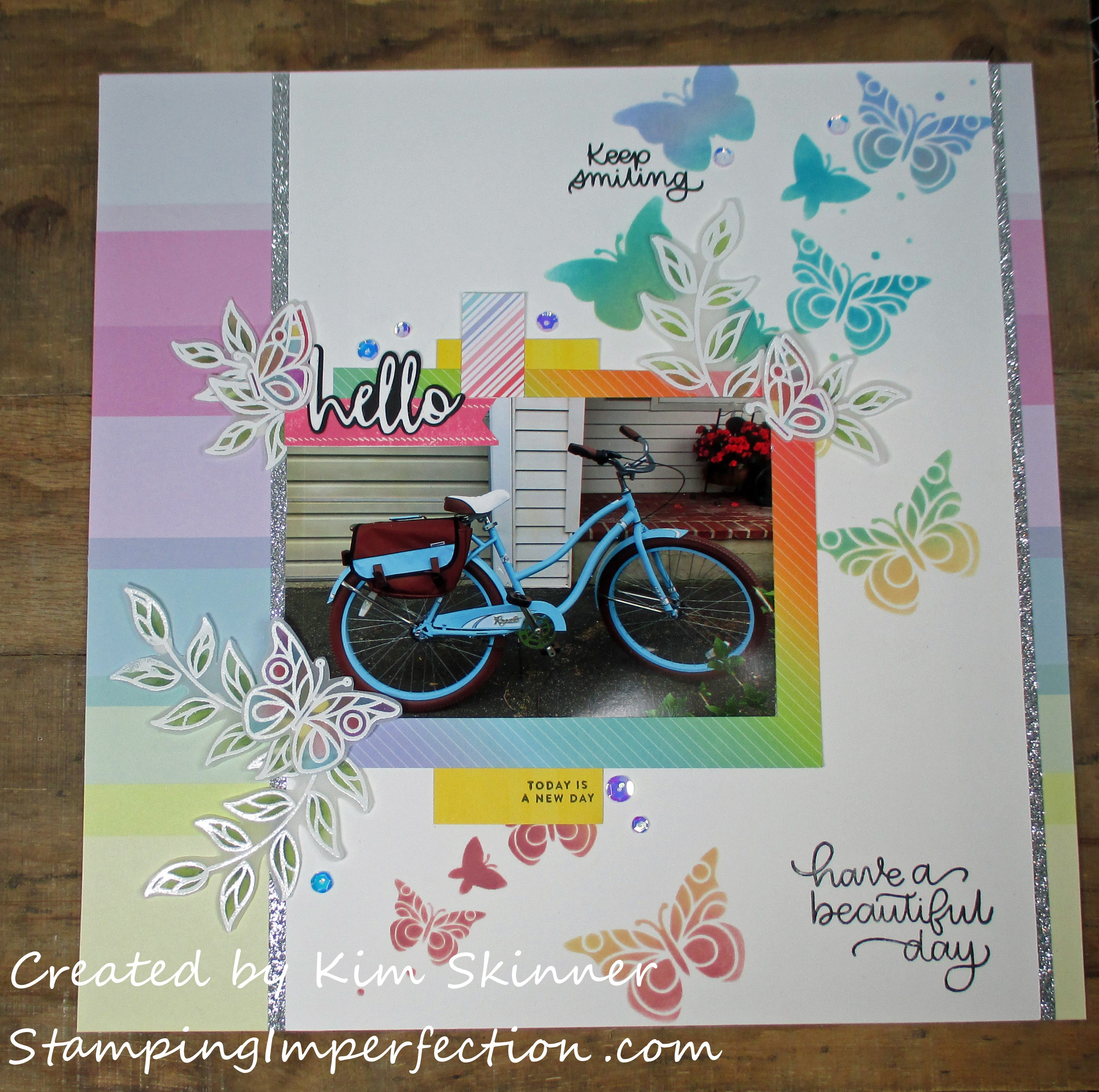 Stamping Imperfection Distress Oxide and Stencil Scrapbook Layout