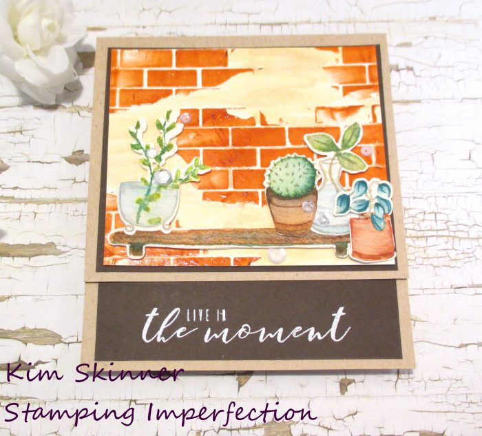 Watercolor scene building mixed media card stamping imperfection