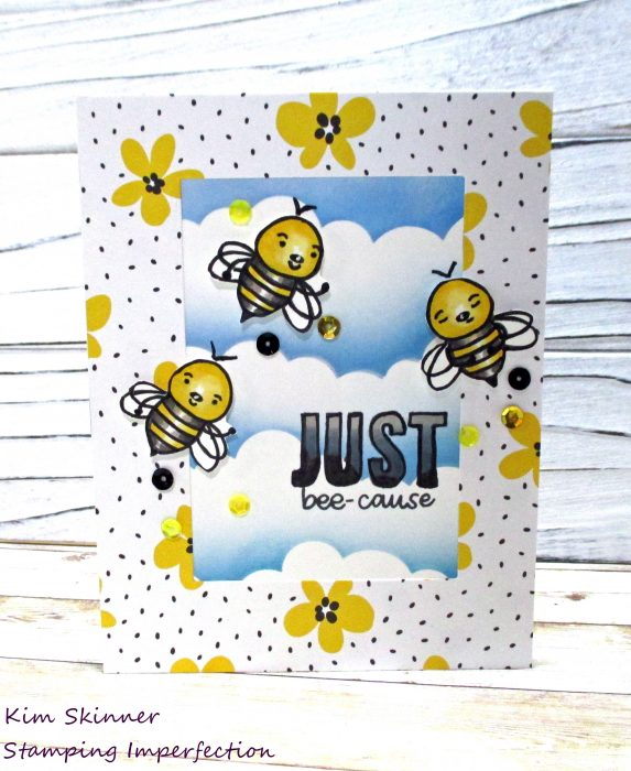 Simon Says Stamp Bee Yourself with stenciled clouds