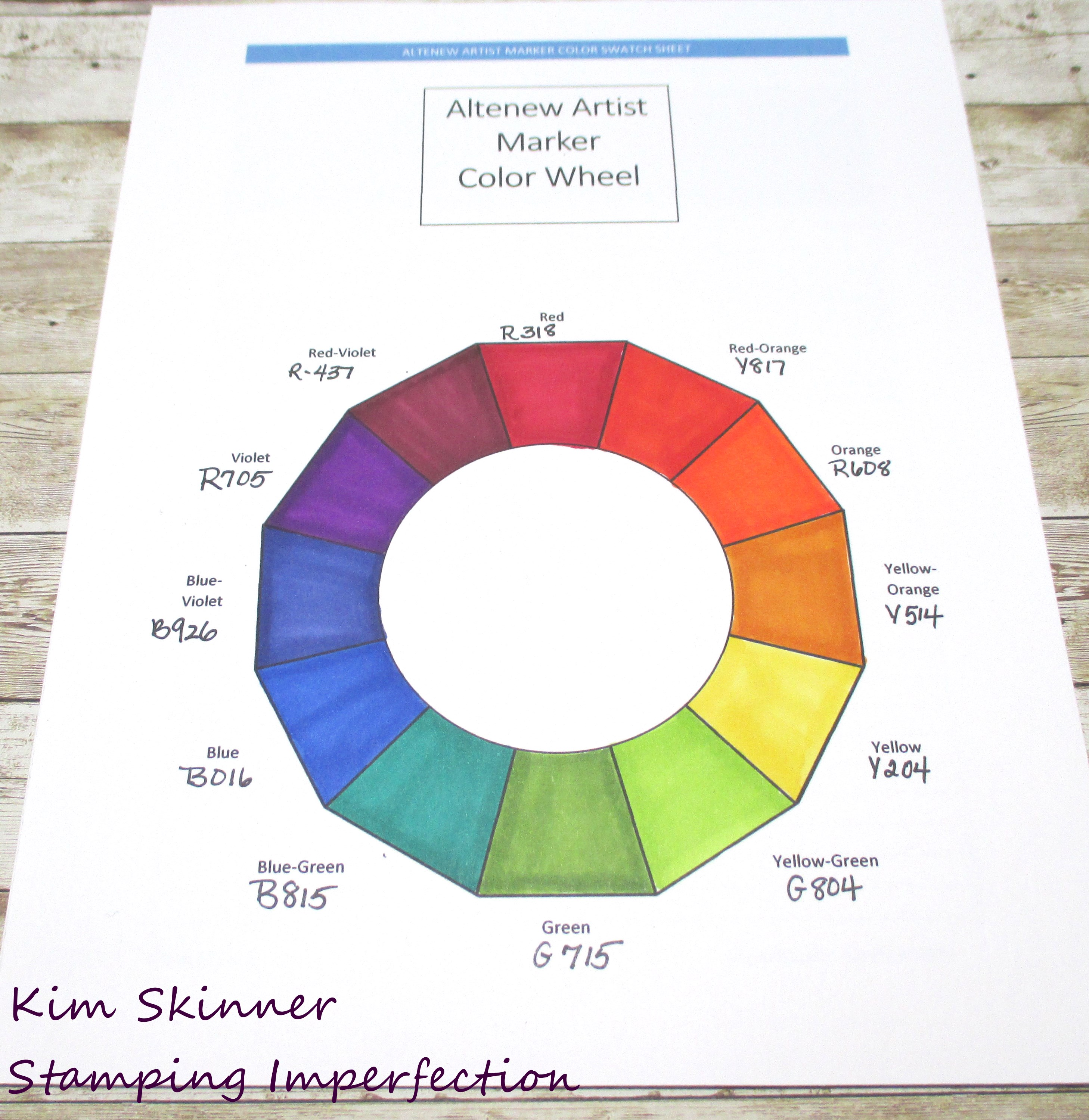 Free Printable Color Wheel Color Theory Notes Altenew Artist Marker Swatch Printable Stamping Imperfection