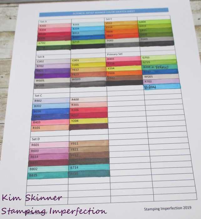 Altenew Marker Swatch Sheet and Color Theroy/Wheel FREE