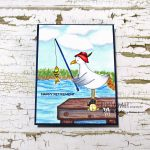 Digital Image: Seagull Fishing With A Dock and Lake Scene + FREE Digi