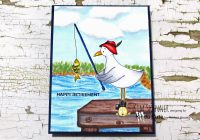 Digital Stamping Seagull Fishing with lake and dock scene