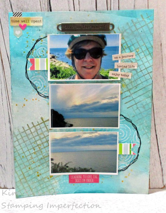 Quick and easy mixed media background for a scrapbook layout