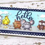 Slimline Card Using Cute Critters Digital Stamp And Slimline Dies