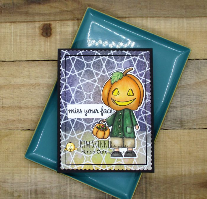 Pumpkin Head digital stamp with mixed media background