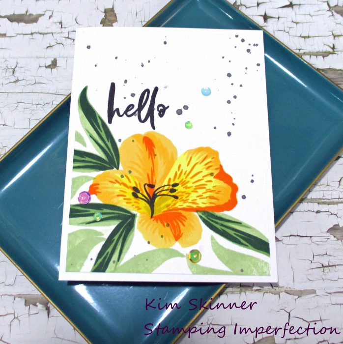 Create a single layer card with a 10 layer stamped lily