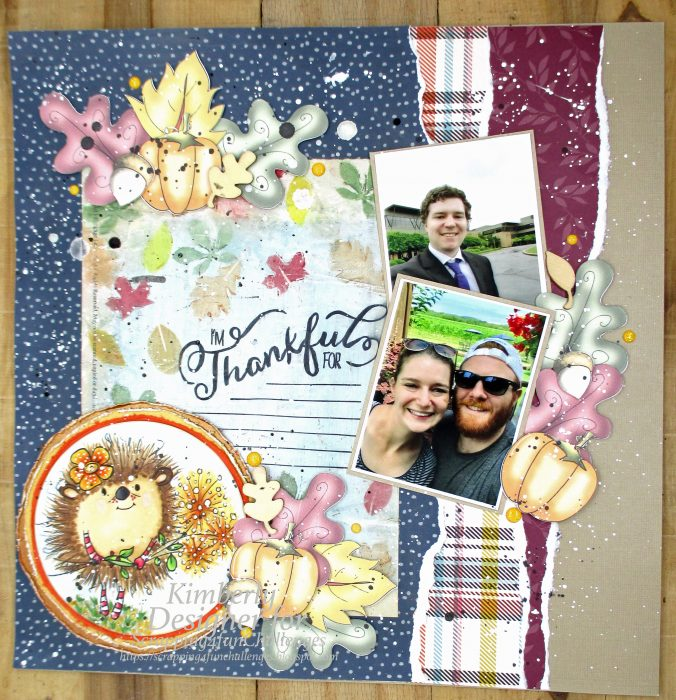 thankful scrapbook layout with polkadoodles digis