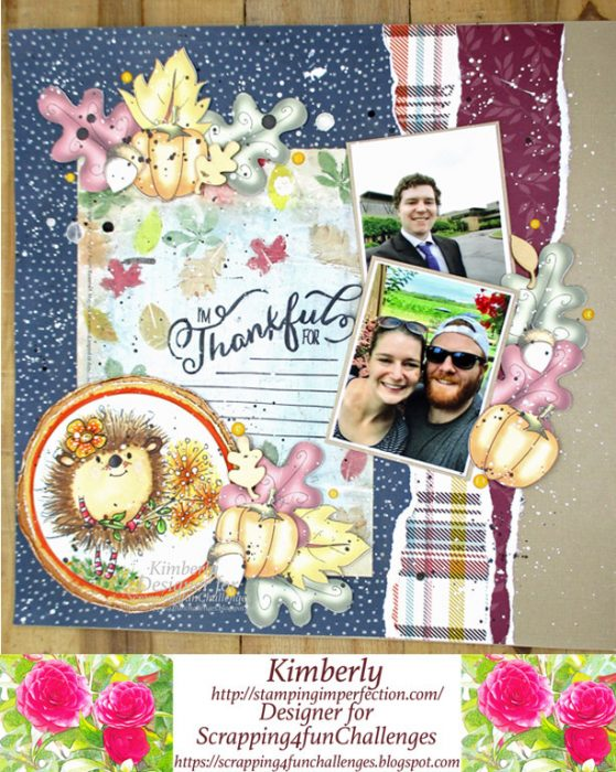 gratitude scrapbook layout with polka doodles digi and printables