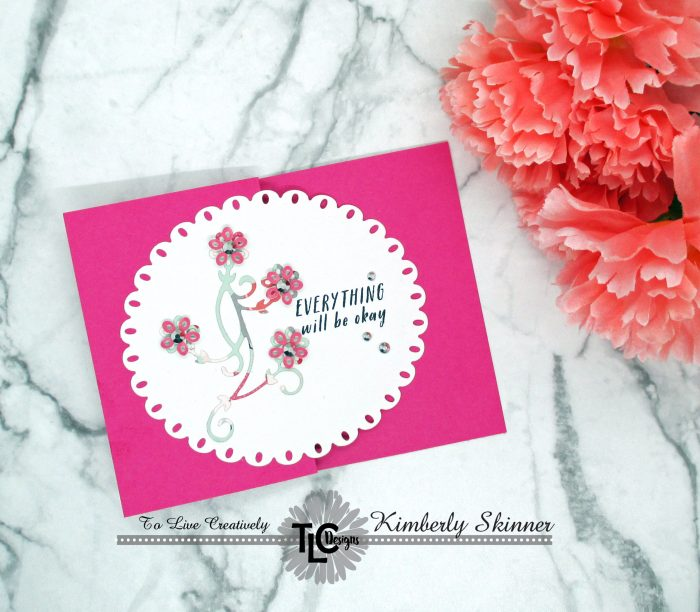 TLC Designs Fun Fold Card with the Tiny Vine Oval die set