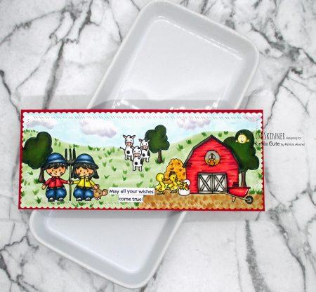 Slimline Card with farm clipart digital images