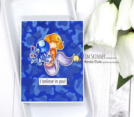 Faux water stencil technique Mermaid card