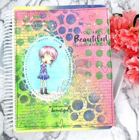 Mixed media journal page with digital stamp and stitching