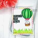 Hot Air Balloon Digital Image Card With Ink Blended Background