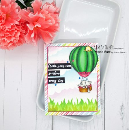 Hot air balloon digital stamp set with stenciled background