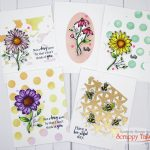 5 Quick and Easy Cards With Stenciling Technique Backgrounds For A Floral Card Set