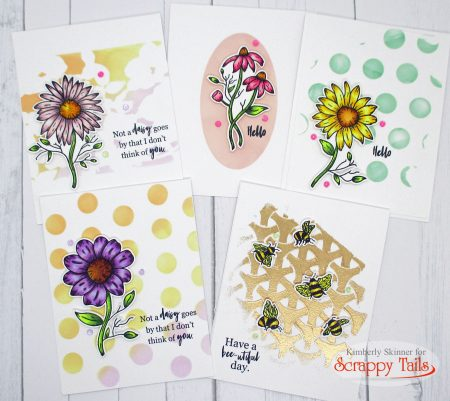 5 stenciling background techniques for a floral card set from scrappy tails crafts