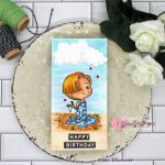 Star Stampz Digital Image Mini Slimline Birthday Card