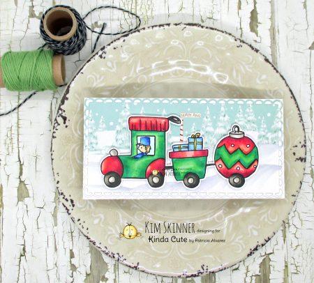 Christmas Train mini slimline card