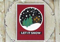 Snow cabin inlaid die cut card